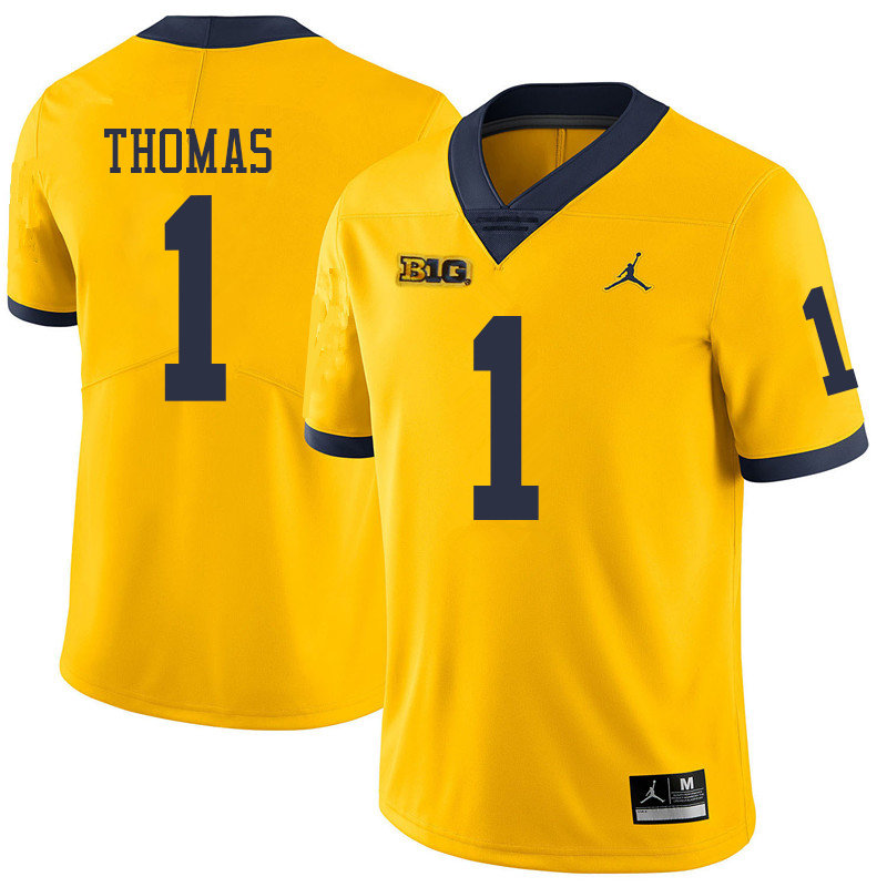 Jordan Brand Men #1 Ambry Thomas Michigan Wolverines College Football Jerseys Sale-Yellow