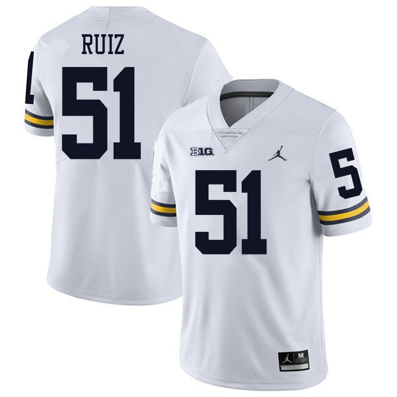 Jordan Brand Men #51 Cesar Ruiz Michigan Wolverines College Football Jerseys Sale-White