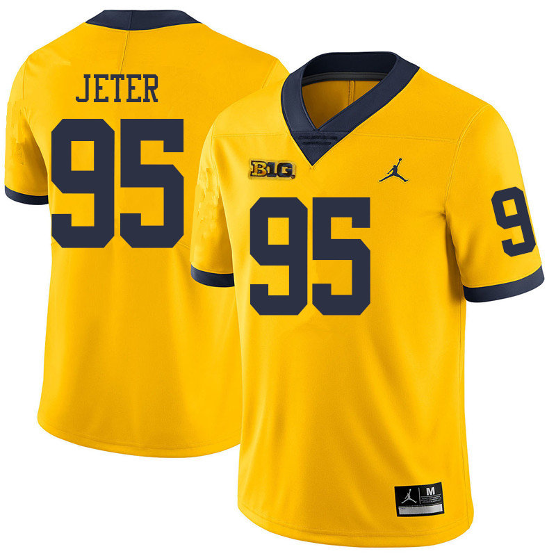 Jordan Brand Men #95 Donovan Jeter Michigan Wolverines College Football Jerseys Sale-Yellow