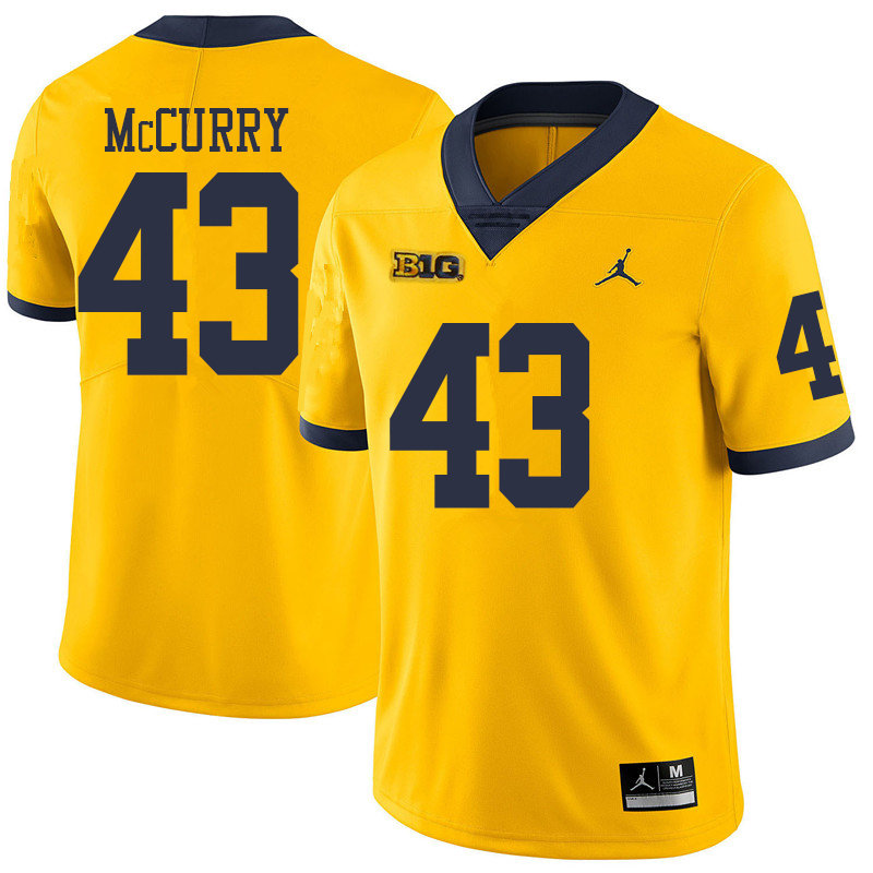 Jordan Brand Men #43 Jake McCurry Michigan Wolverines College Football Jerseys Sale-Yellow