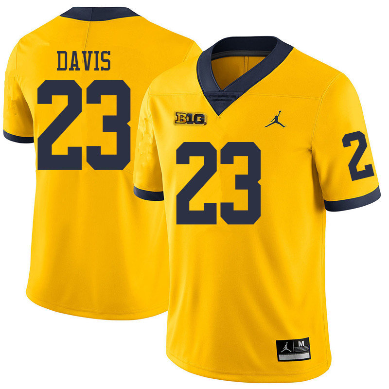Jordan Brand Men #23 Jared Davis Michigan Wolverines College Football Jerseys Sale-Yellow