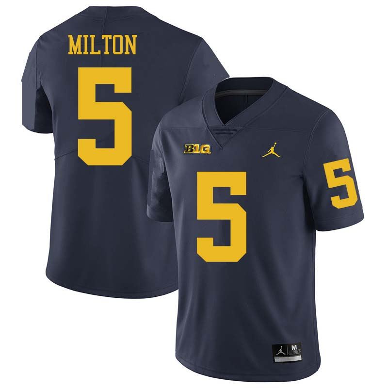 Jordan Brand Men #5 Joe Milton Michigan Wolverines College Football Jerseys Sale-Navy
