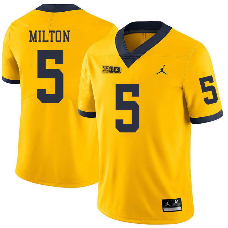Jordan Brand Men #5 Joe Milton Michigan Wolverines College Football Jerseys Sale-Yellow