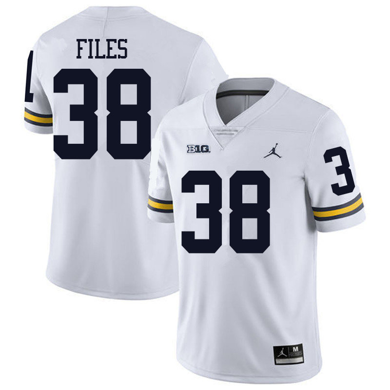 Jordan Brand Men #38 Joseph Files Michigan Wolverines College Football Jerseys Sale-White