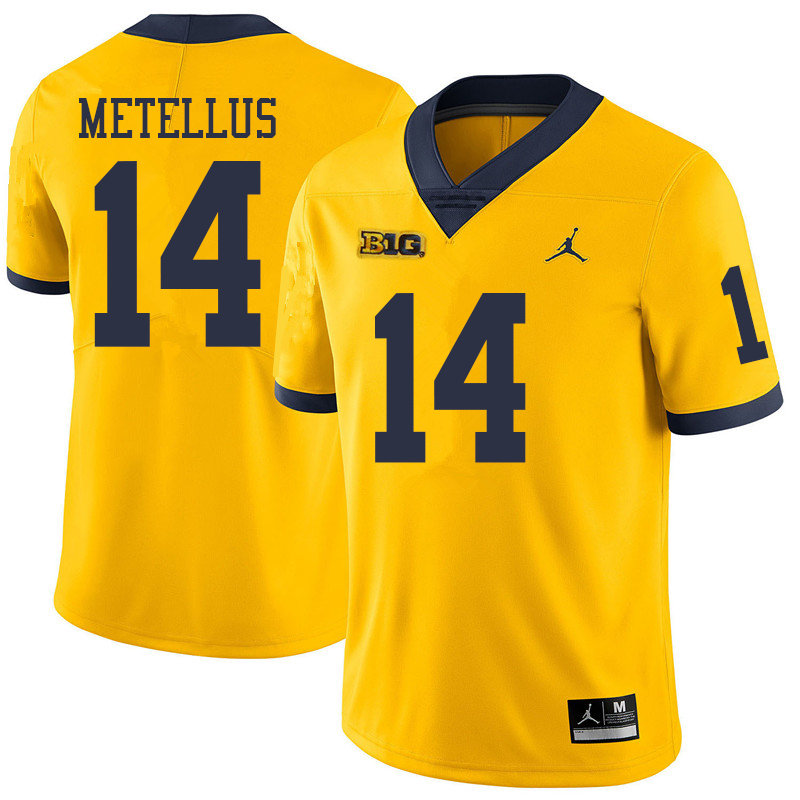 Jordan Brand Men #14 Josh Metellus Michigan Wolverines College Football Jerseys Sale-Yellow