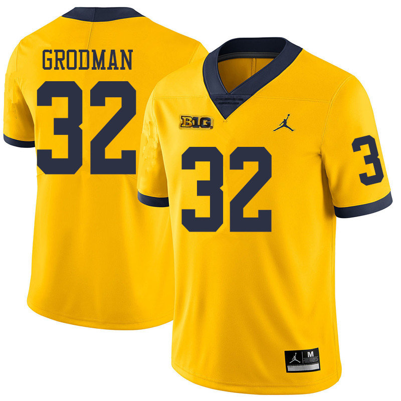 Jordan Brand Men #32 Louis Grodman Michigan Wolverines College Football Jerseys Sale-Yellow