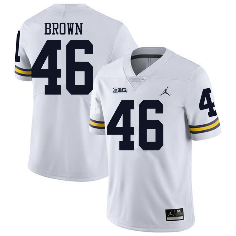 Jordan Brand Men #46 Matt Brown Michigan Wolverines College Football Jerseys Sale-White