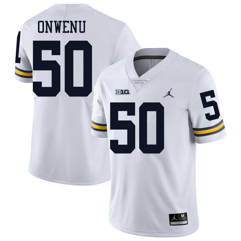 Jordan Brand Men #50 Michael Onwenu Michigan Wolverines College Football Jerseys Sale-White