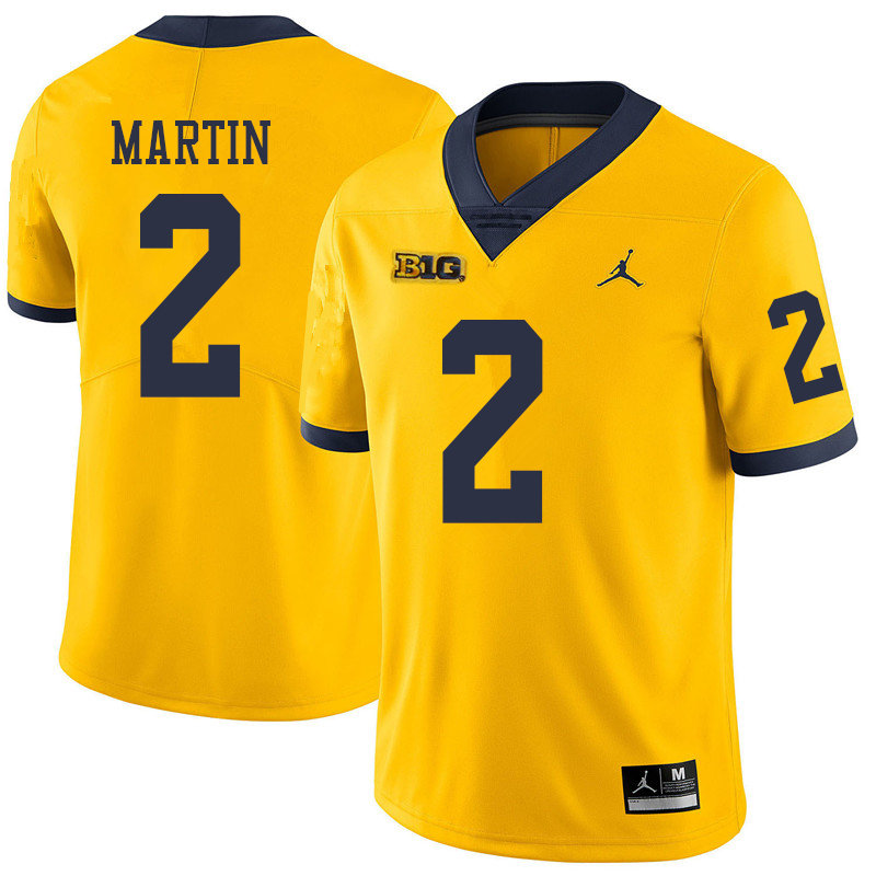 Jordan Brand Men #2 Oliver Martin Michigan Wolverines College Football Jerseys Sale-Yellow