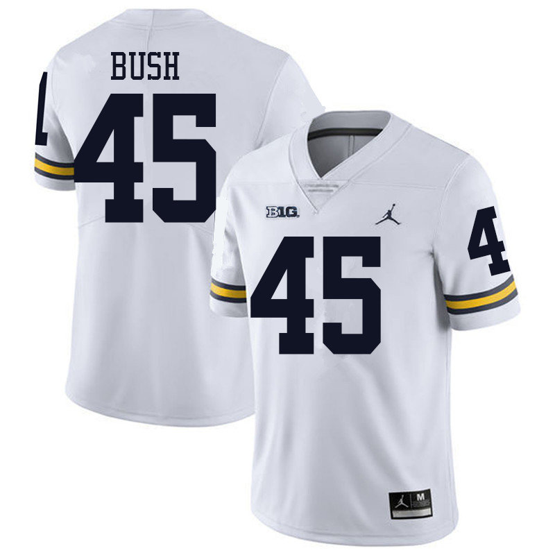Jordan Brand Men #45 Peter Bush Michigan Wolverines College Football Jerseys Sale-White