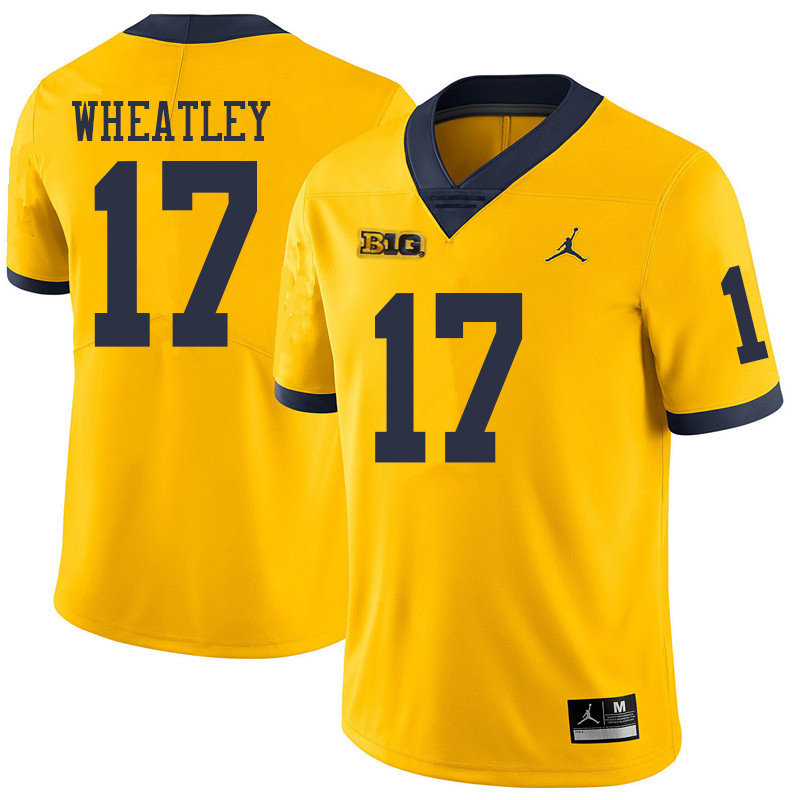 Jordan Brand Men  17 Tyrone Wheatley Michigan Wolverines College Football  Jerseys Sale-Yellow b9ac73ac2