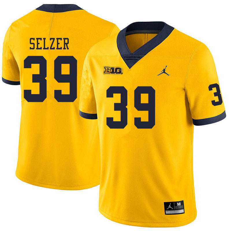 Men #39 Alan Selzer Michigan Wolverines College Football Jerseys Sale-Yellow