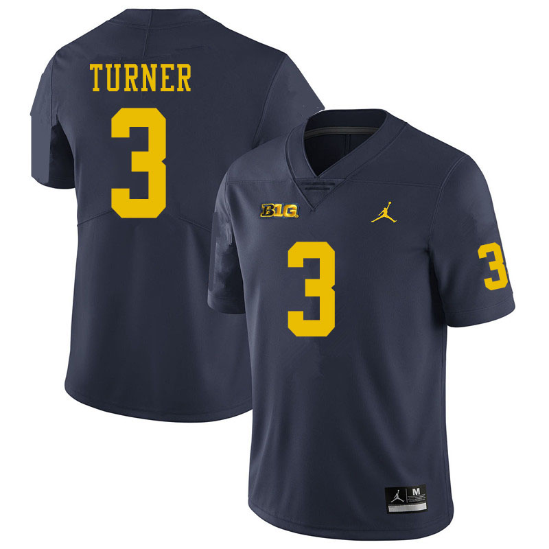Men #3 Christian Turner Michigan Wolverines College Football Jerseys Sale-Navy