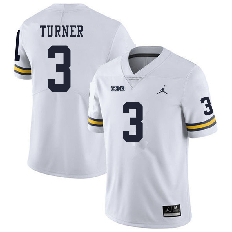 Men #3 Christian Turner Michigan Wolverines College Football Jerseys Sale-White