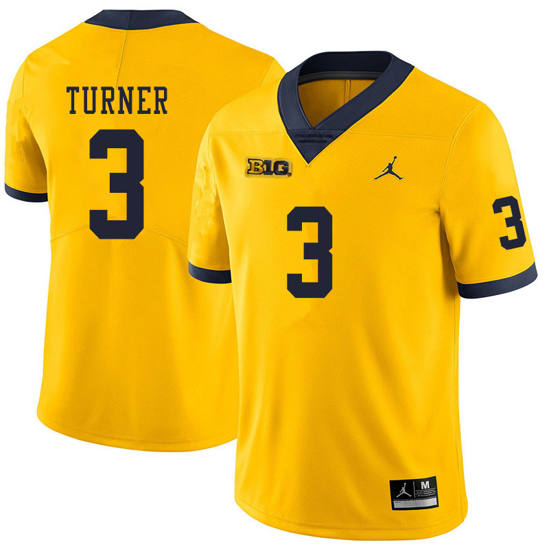 Men #3 Christian Turner Michigan Wolverines College Football Jerseys Sale-Yellow