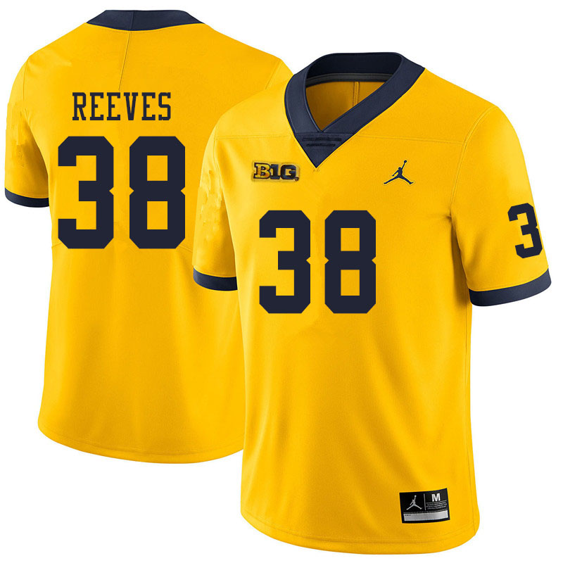 Men #38 Geoffrey Reeves Michigan Wolverines College Football Jerseys Sale-Yellow