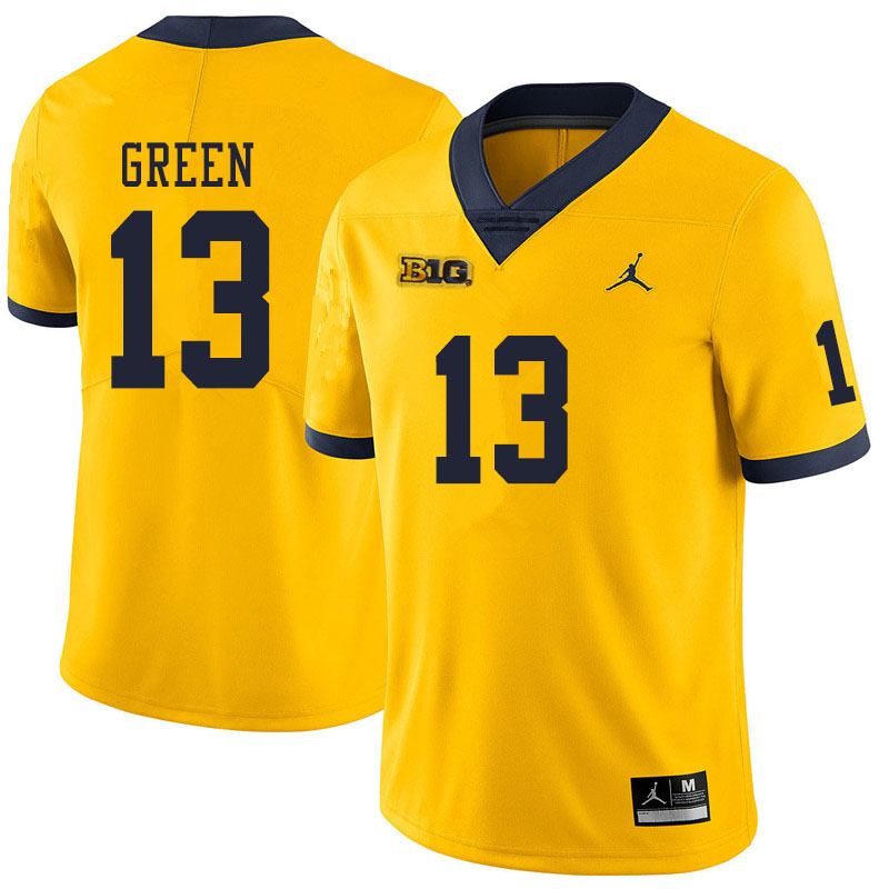 Men #13 German Green Michigan Wolverines College Football Jerseys Sale-Yellow
