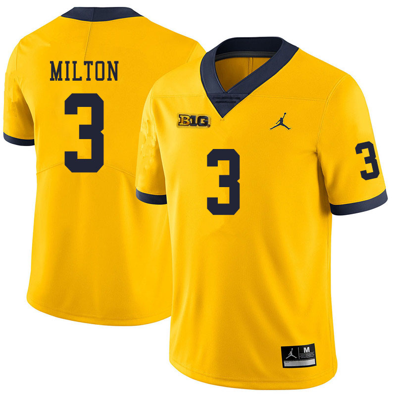 Men #3 Joe Milton Michigan Wolverines College Football Jerseys Sale-Yellow