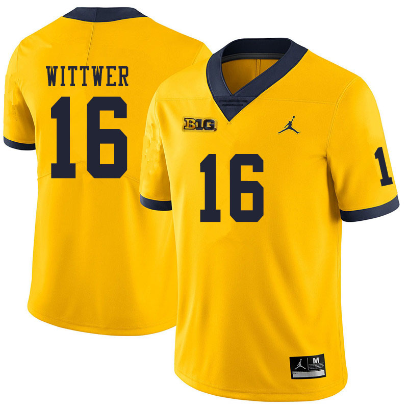 Men #16 Max Wittwer Michigan Wolverines College Football Jerseys Sale-Yellow