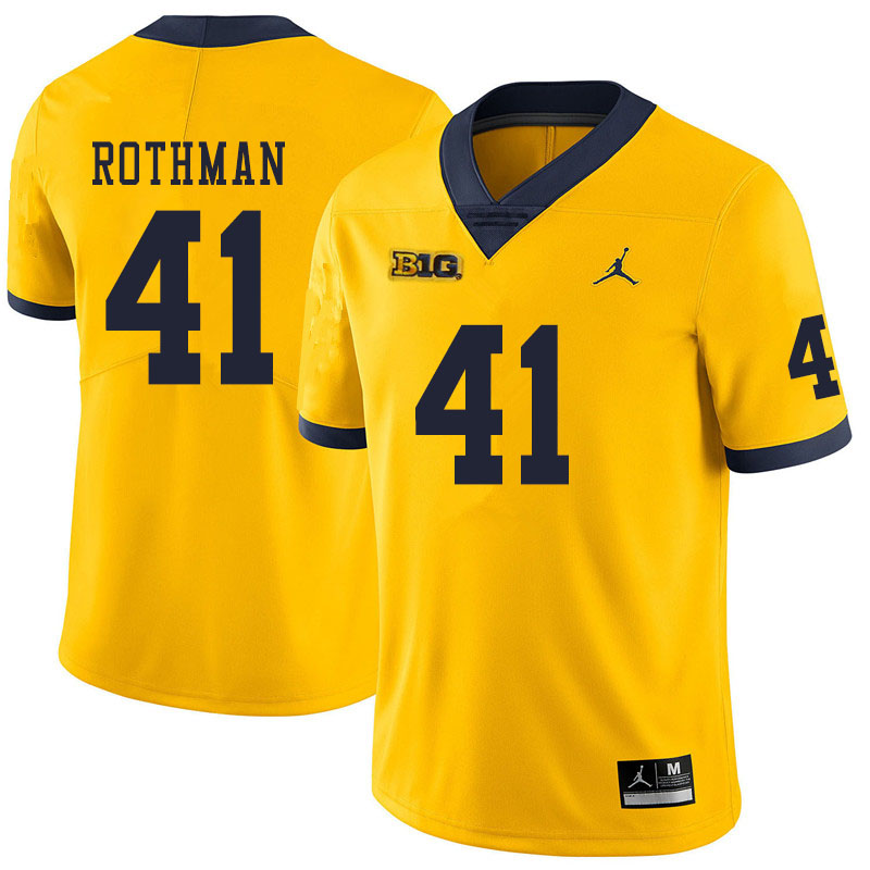 Men #41 Quinn Rothman Michigan Wolverines College Football Jerseys Sale-Yellow