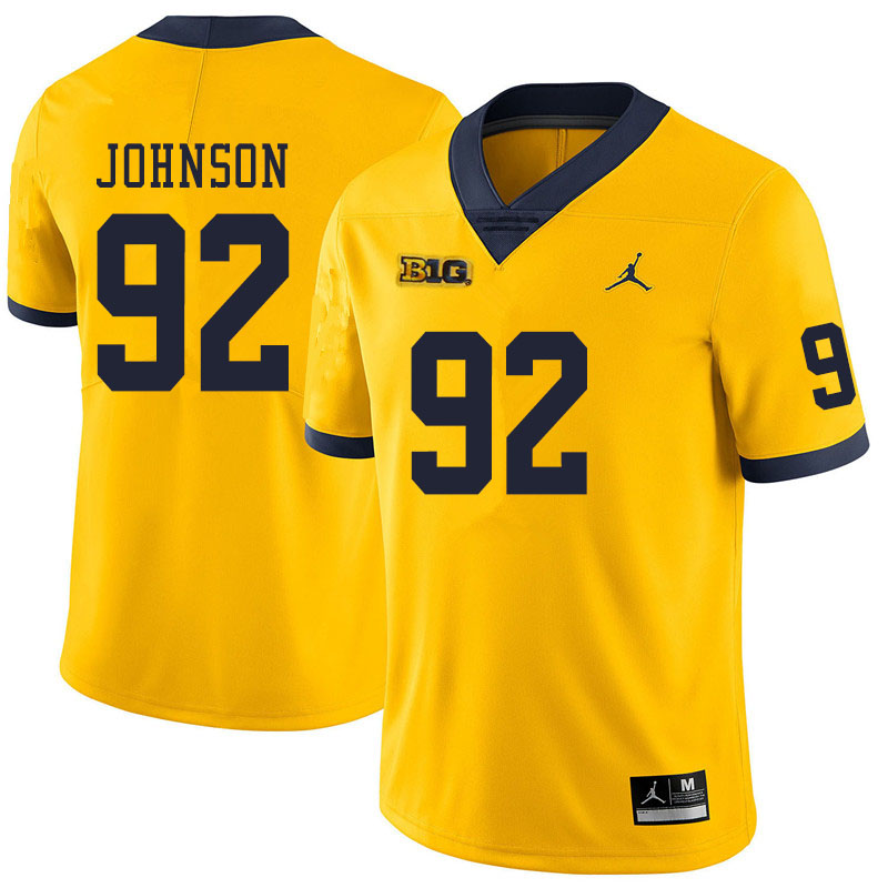 Men #92 Ron Johnson Michigan Wolverines College Football Jerseys Sale-Yellow