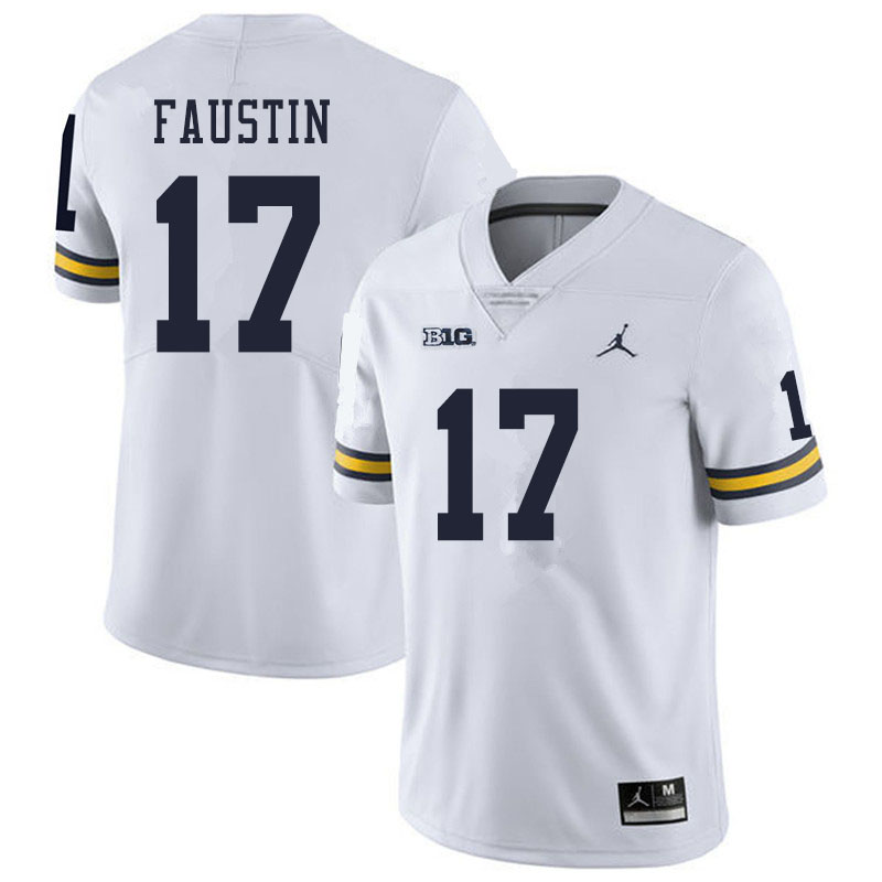 Men #17 Sammy Faustin Michigan Wolverines College Football Jerseys Sale-White