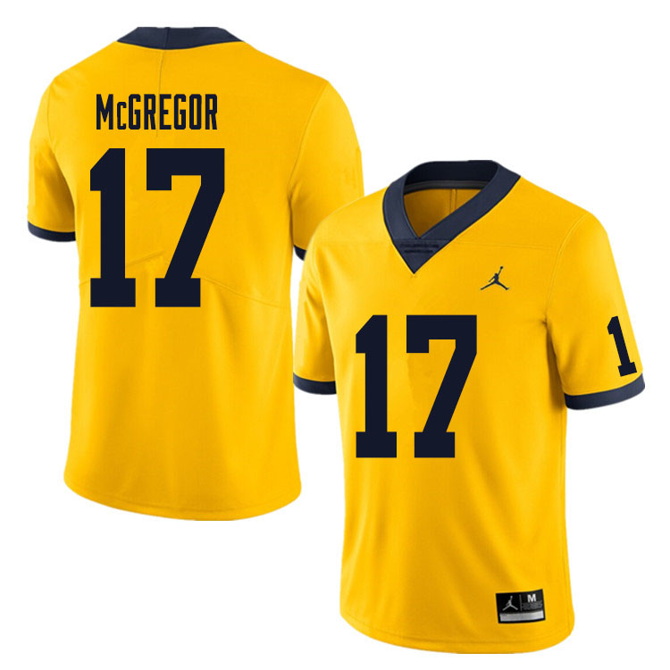 Men #17 Braiden McGregor Michigan Wolverines College Football Jersey Sale-Yellow
