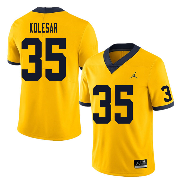Men #35 Caden Kolesar Michigan Wolverines College Football Jersey Sale-Yellow