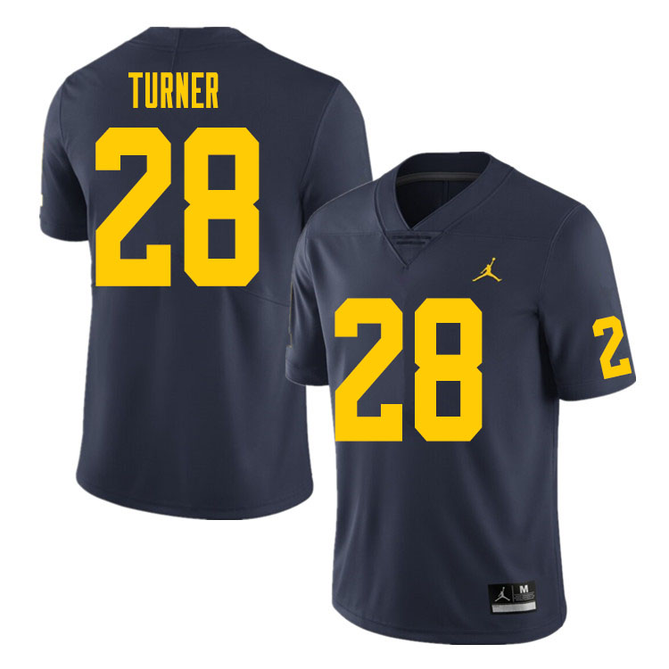 Men #28 Christian Turner Michigan Wolverines College Football Jersey Sale-Navy