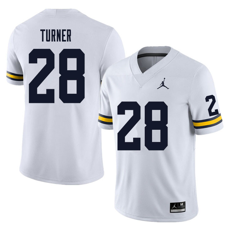 Men #28 Christian Turner Michigan Wolverines College Football Jersey Sale-White