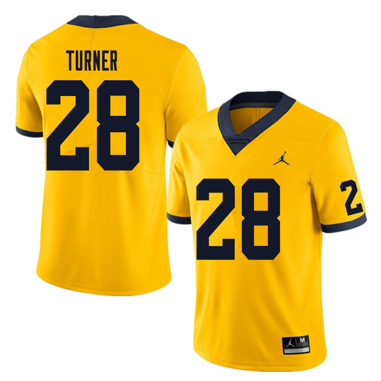 Men #28 Christian Turner Michigan Wolverines College Football Jersey Sale-Yellow