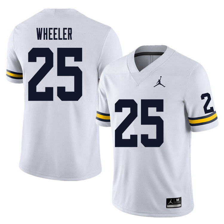 Men #25 Cornell Wheeler Michigan Wolverines College Football Jersey Sale-White