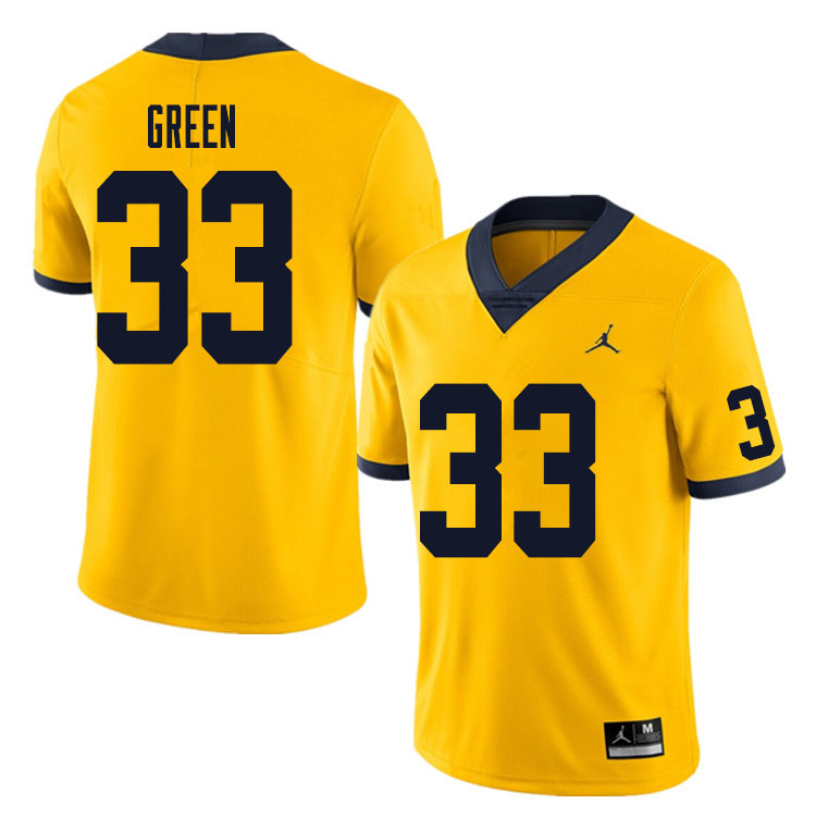 Men #33 German Green Michigan Wolverines College Football Jersey Sale-Yellow