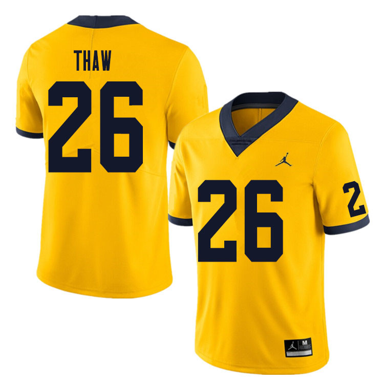 Men #26 Jake Thaw Michigan Wolverines College Football Jersey Sale-Yellow