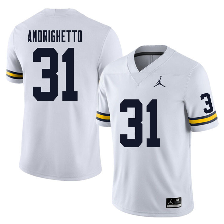 Men #31 Lucas Andrighetto Michigan Wolverines College Football Jersey Sale-White