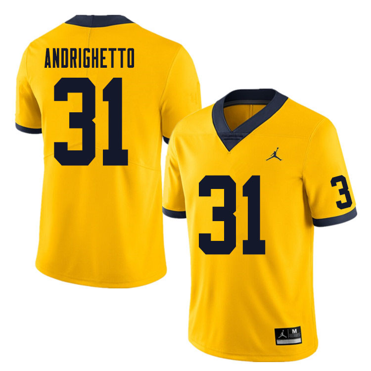 Men #31 Lucas Andrighetto Michigan Wolverines College Football Jersey Sale-Yellow