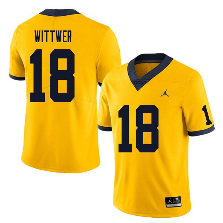 Men #18 Max Wittwer Michigan Wolverines College Football Jersey Sale-Yellow