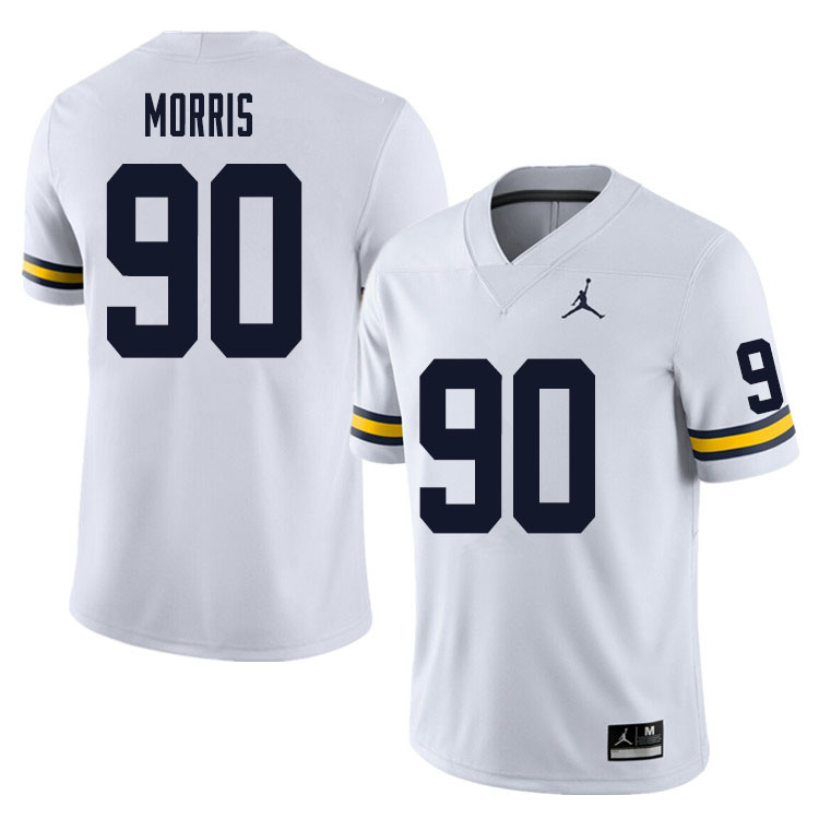 Men #90 Mike Morris Michigan Wolverines College Football Jersey Sale-White