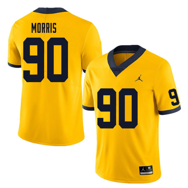 Men #90 Mike Morris Michigan Wolverines College Football Jersey Sale-Yellow