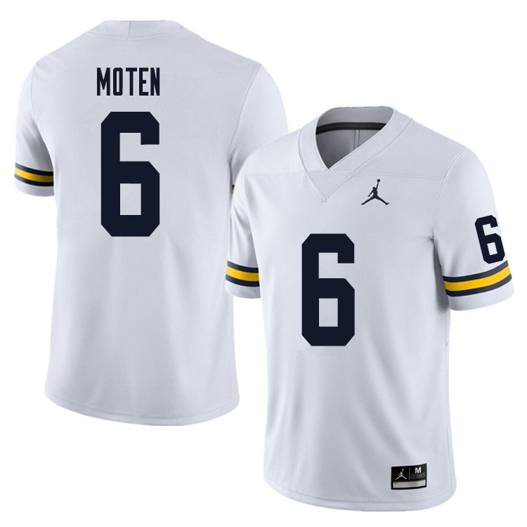 Men #6 R.J. Moten Michigan Wolverines College Football Jersey Sale-White