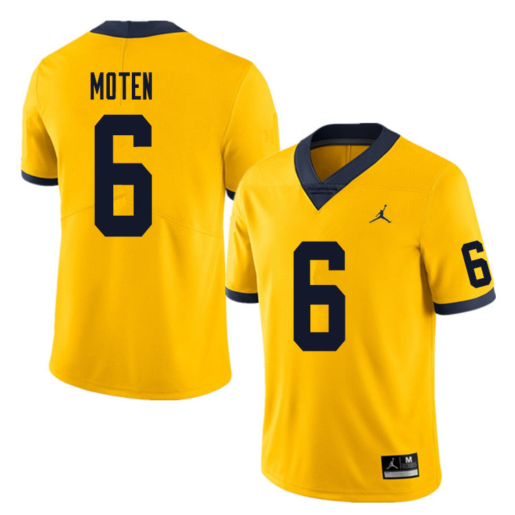 Men #6 R.J. Moten Michigan Wolverines College Football Jersey Sale-Yellow