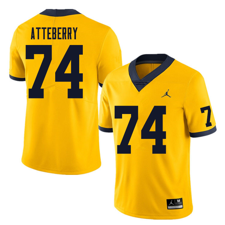 Men #74 Reece Atteberry Michigan Wolverines College Football Jersey Sale-Yellow
