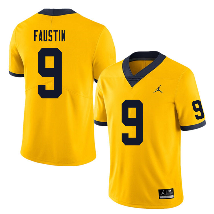 Men #9 Sammy Faustin Michigan Wolverines College Football Jersey Sale-Yellow