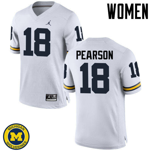 Women Michigan Wolverines #18 AJ Pearson College Football Jerseys Sale-White