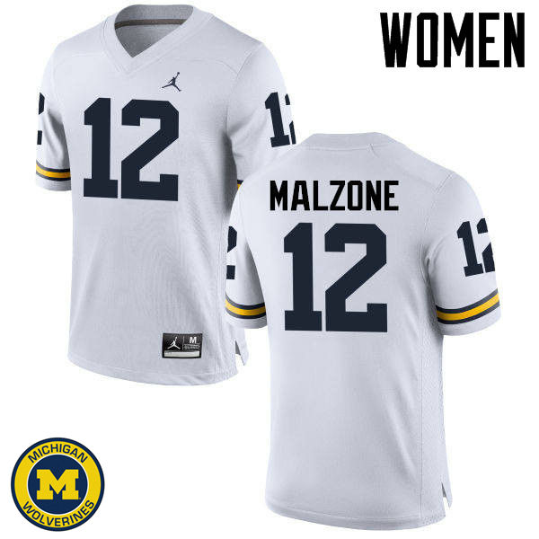 Women Michigan Wolverines #12 Alex Malzone College Football Jerseys Sale-White