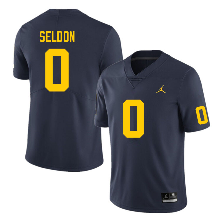 Men #0 Andre Seldon Michigan Wolverines College Football Jerseys Sale-Navy