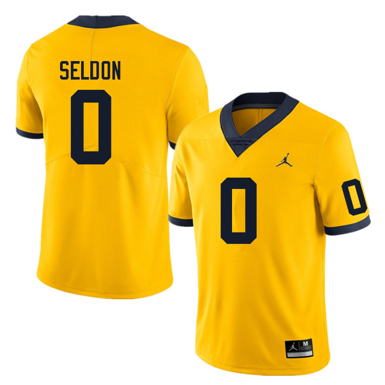 Men #0 Andre Seldon Michigan Wolverines College Football Jerseys Sale-Yellow