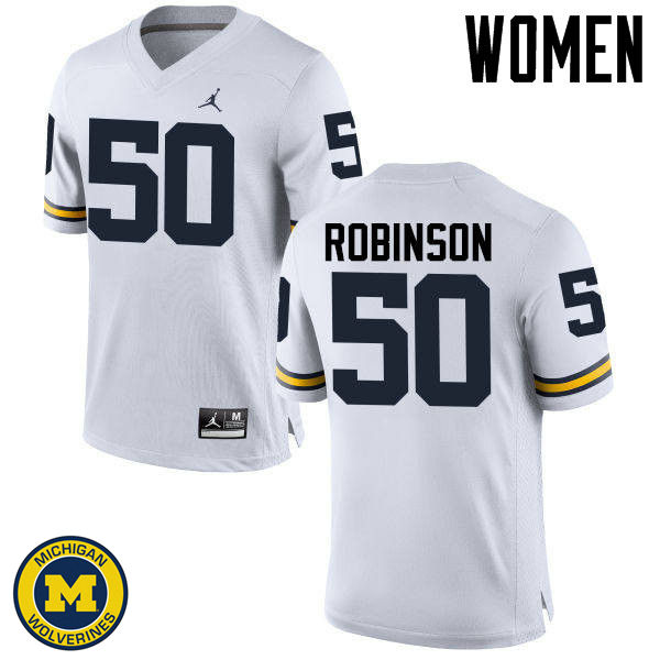 Women Michigan Wolverines #50 Andrew Robinson College Football Jerseys Sale-White