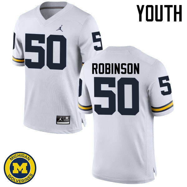 Youth Michigan Wolverines #50 Andrew Robinson College Football Jerseys Sale-White
