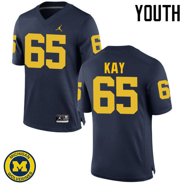 Youth Michigan Wolverines #65 Anthony Kay College Football Jerseys Sale-Navy